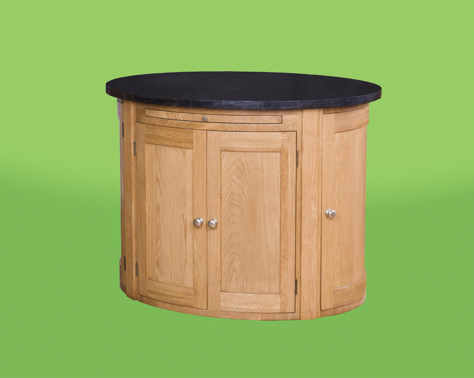 oval kitchen island with granite top