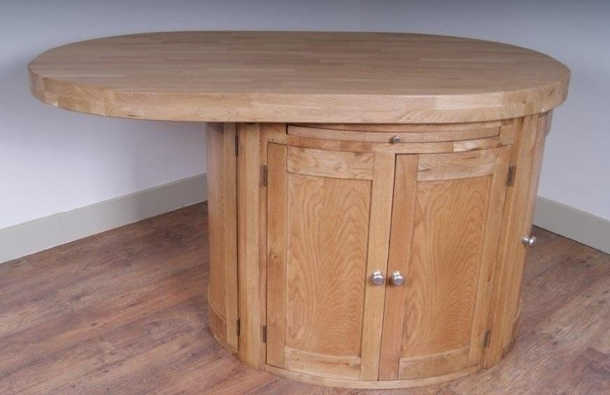 oval kitchen island with oak top