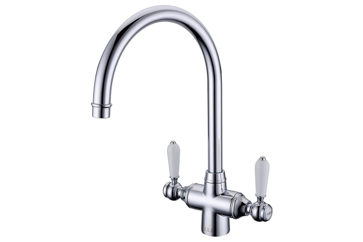 Chrome Mono-Block Tap with White Ceramic Handles